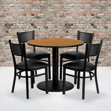 36'' Round Natural Laminate Table Set with Grid Back Metal Chair and Black Vinyl Seat, Seats 4