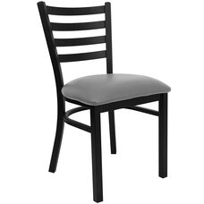HERCULES Series Black Ladder Back Metal Restaurant Chair - Custom Upholstered Seat