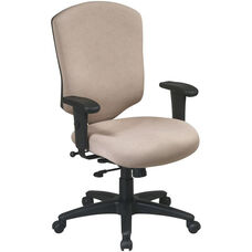 Work Smart Distinctive High Back Executive Chair with Ratchet Back and Adjustable Seat Height