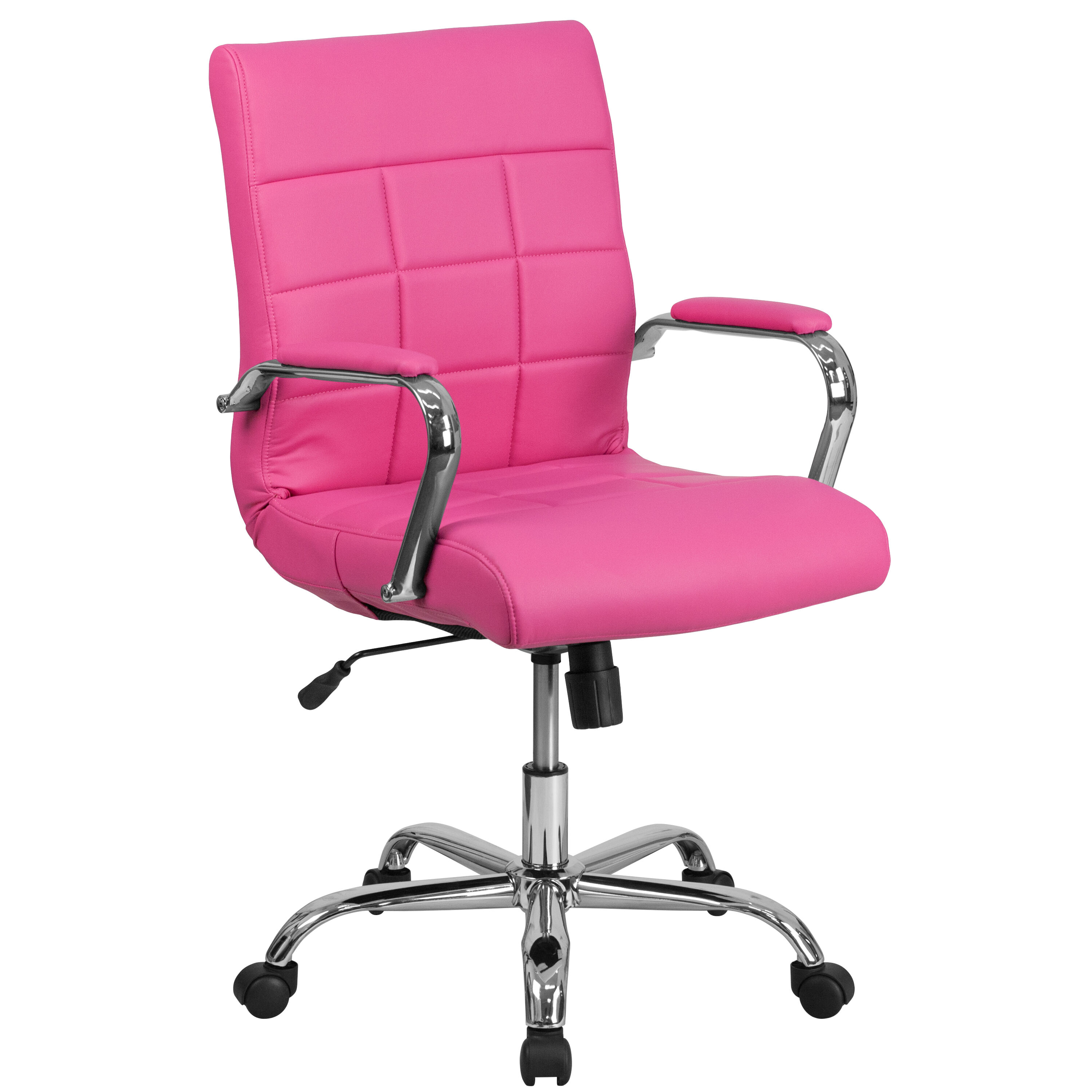 Our Mid Back Pink Vinyl Executive Swivel Chair With Chrome Base And Arms Is  On