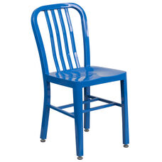 Commercial Grade Blue Metal Indoor-Outdoor Chair