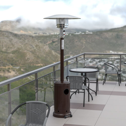 Patio Outdoor Heating-Bronze Stainless Steel 40,000 BTU Propane Heater with Wheels for Commercial & Residential Use-7.5 Feet Tall