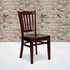 Mahogany Finished Vertical Slat Back Wooden Restaurant Chair