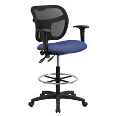 Mid-Back Navy Blue Mesh Drafting Chair with Back Height Adjustment and Adjustable Arms
