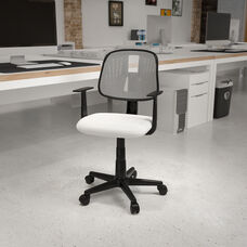Basics Mid-Back Mesh Swivel Task Office Chair with Pivot Back and Arms, White, BIFMA Certified