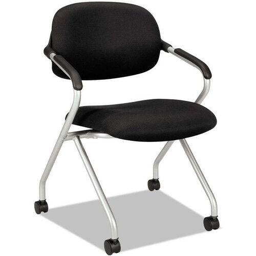 Our Basyx® VL303 Series Nesting Arm Chair with Silver Frame and Casters - Black is on sale now.