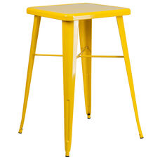 """Commercial Grade 23.75"""" Square Yellow Metal Indoor-Outdoor Bar Height Table"""