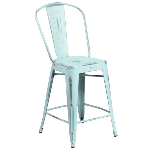 """Our Commercial Grade 24"""" High Distressed Green-Blue Metal Indoor-Outdoor Counter Height Stool with Back is on sale now."""