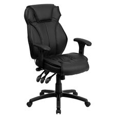 High Back Black Leather Multifunction Executive Swivel Chair with Lumbar Support Knob with Arms