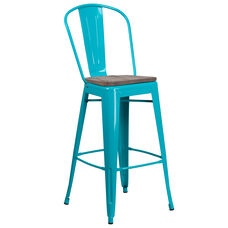 "30"" High Crystal Teal-Blue Metal Barstool with Back and Wood Seat"