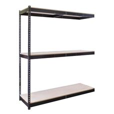 Rivetwell 3 Level Center Support Double Rivet Boltless Shelving Add On Unit with Particle Board - Unassembled - Black - 84