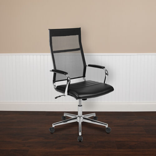 Our High Back Black Mesh Contemporary Executive Swivel Office Chair with LeatherSoft Seat is on sale now.