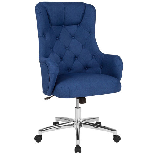 Our Chambord Home and Office Upholstered High Back Chair in Blue Fabric is on sale now.