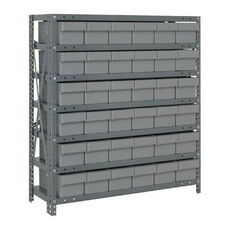 7 Shelf Open Unit with 36 Drawers - Gray