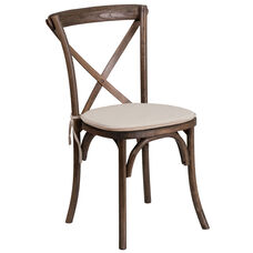 HERCULES Series Stackable Early American Wood Cross Back Chair with Cushion