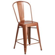 "Commercial Grade 24"" High Copper Metal Indoor-Outdoor Counter Height Stool with Back"
