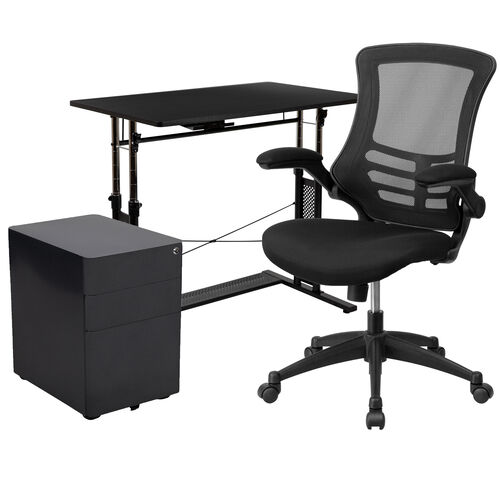 Our Work From Home Kit - Adjustable Computer Desk, Ergonomic Mesh Office Chair and Locking Mobile Filing Cabinet with Side Handles is on sale now.