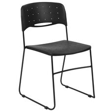 HERCULES Series 771 lb. Capacity Black Sled Base Stack Chair with Air-Vent Seat