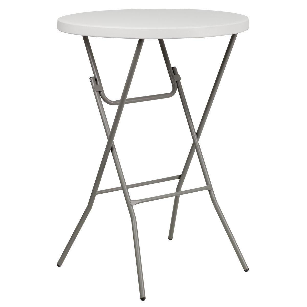 32 Round Granite White Plastic Bar Height Folding Table