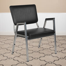 HERCULES Series 1500 lb. Rated Black Antimicrobial Vinyl Bariatric Antimicrobial Medical Reception Arm Chair with 3/4 Panel Back