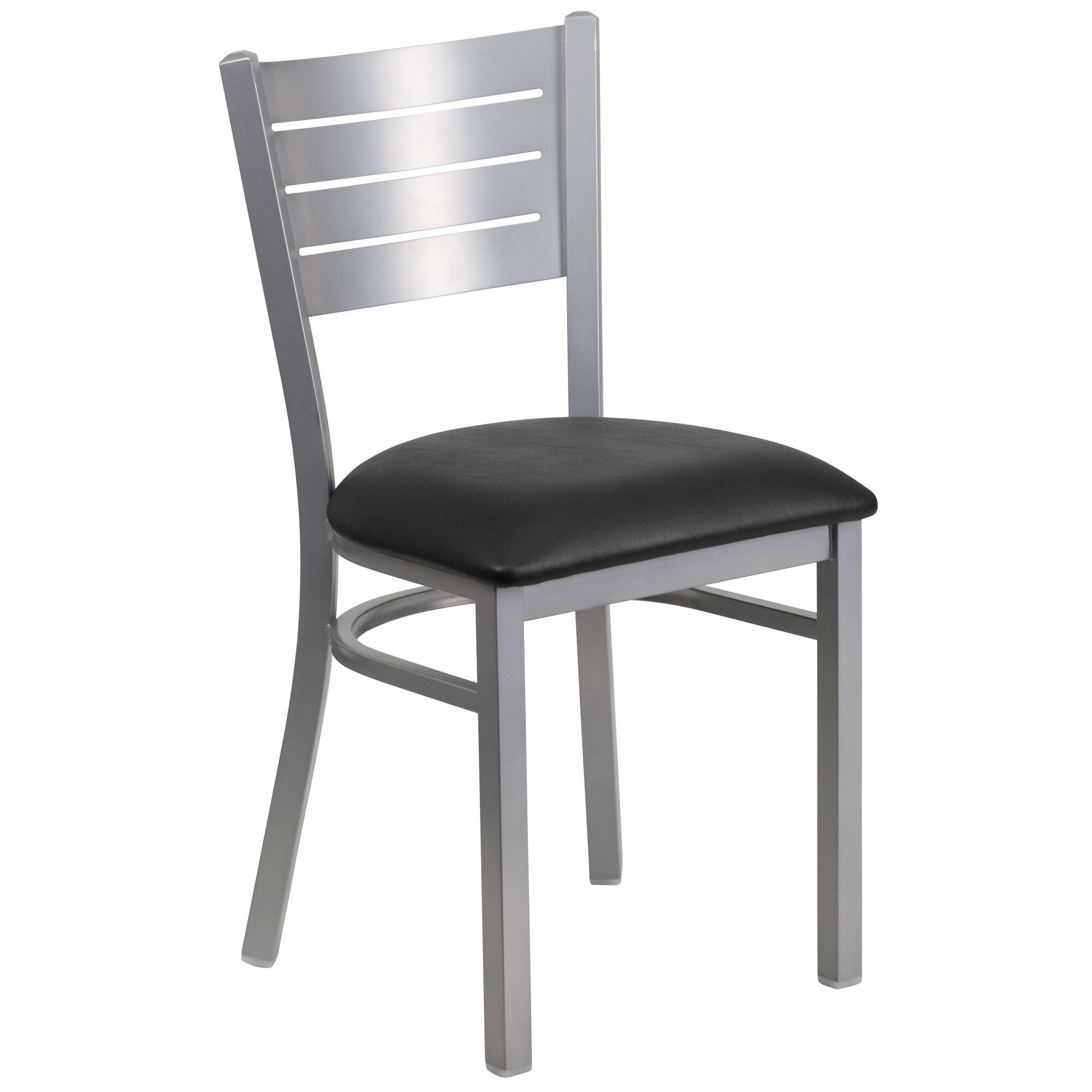 Silver slat chair black seat bfdh slv bk tdr
