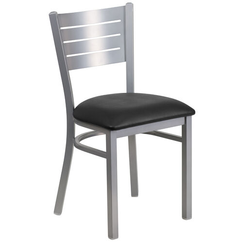 Our Silver Slat Back Metal Restaurant Chair with Black Vinyl Seat is on sale now.