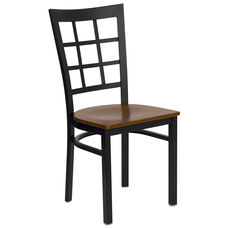 Black Window Back Metal Restaurant Chair with Cherry Wood Seat