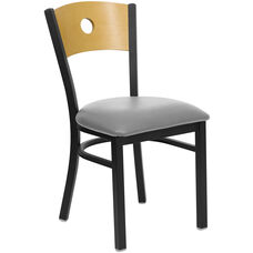Black Circle Back Metal Restaurant Chair with Natural Wood Back & Custom Upholstered Seat