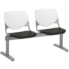 2300 KOOL Series Beam Seating with 2 Poly White Perforated Back and Black Seats