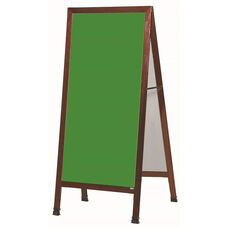 Extra Large A-Frame Sidewalk Board with Green Composition Chalkboard and Cherry Stain Finished Solid Red Oak Frame - 30