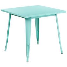 "Commercial Grade 31.5"" Square Mint Green Metal Indoor-Outdoor Table"