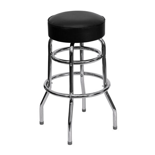 Our Double Ring Chrome Barstool with Black Vinyl Swivel Seat is on sale now.