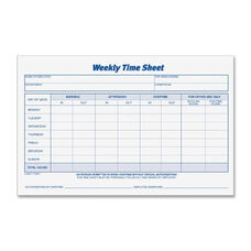 Tops Weekly Timesheet Form - Pack Of 2