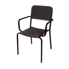 Rio Black Frame Stacking Aluminum Arm Chair - Black and White Wicker