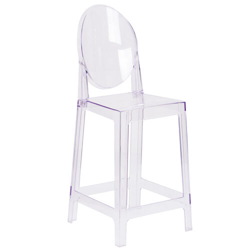 Our Ghost Counter Stool with Oval Back in Transparent Crystal is on sale now.