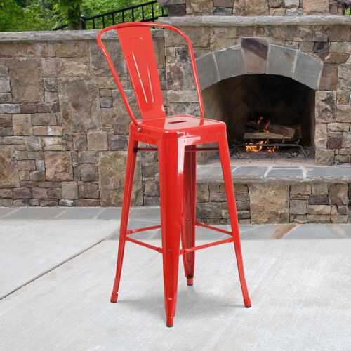 "Our Commercial Grade 30"" High Red Metal Indoor-Outdoor Barstool with Removable Back is on sale now."