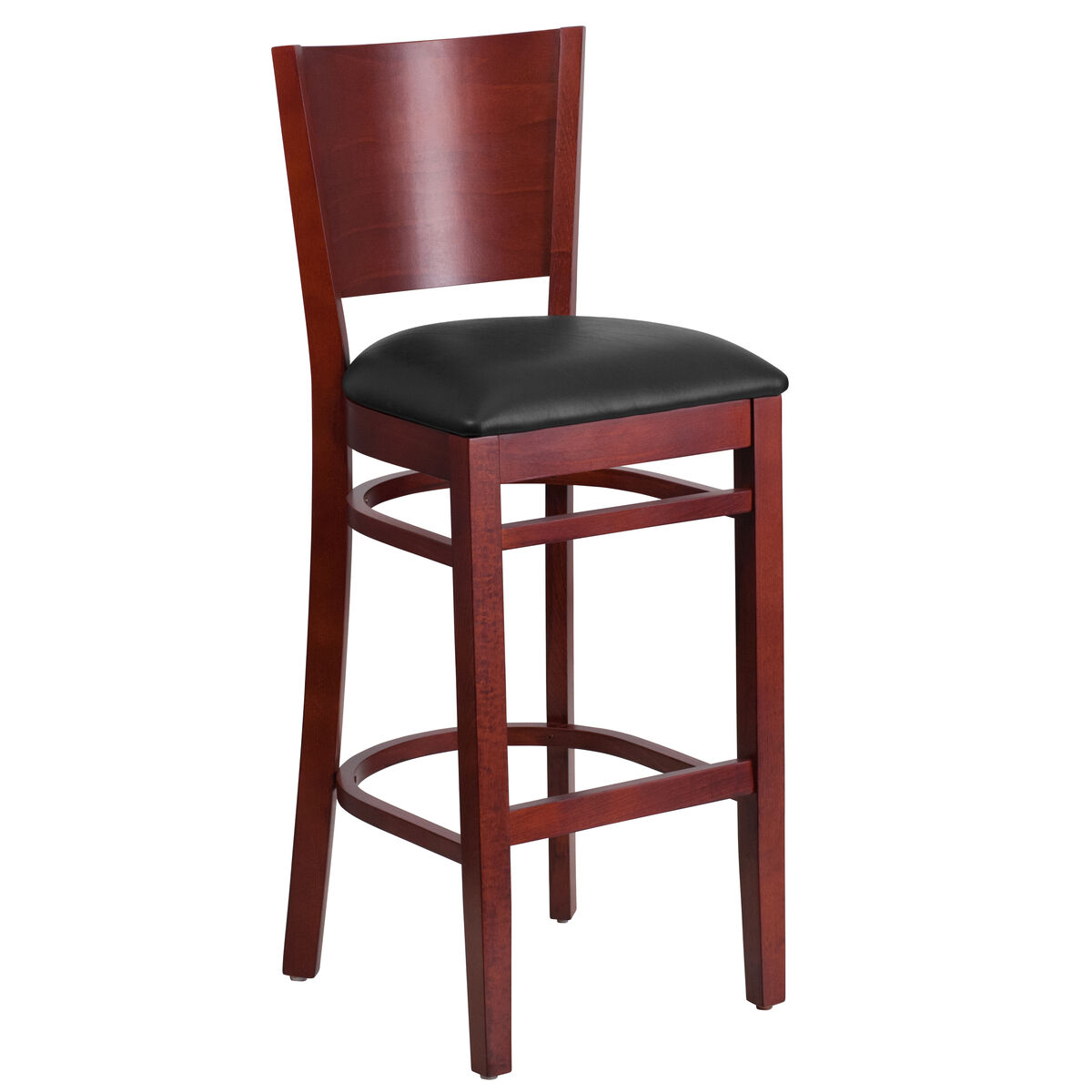 Wood solid back stool bfdh dg w bar