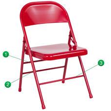 HERCULES Series Triple Braced & Double Hinged Red Metal Folding Chair