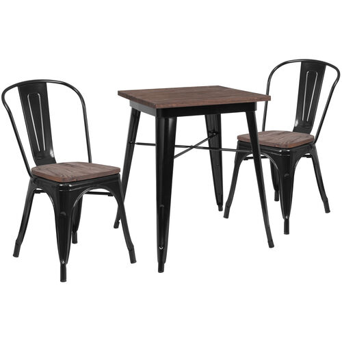 """23.5"""" Square Black Metal Table Set with Wood Top and 2 Stack Chairs"""
