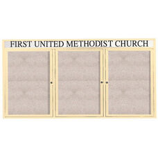 3 Door Outdoor Illuminated Enclosed Bulletin Board with Header and Ivory Powder Coated Aluminum Frame - 36