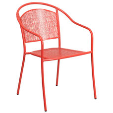 Coral Indoor-Outdoor Steel Patio Arm Chair with Round Back