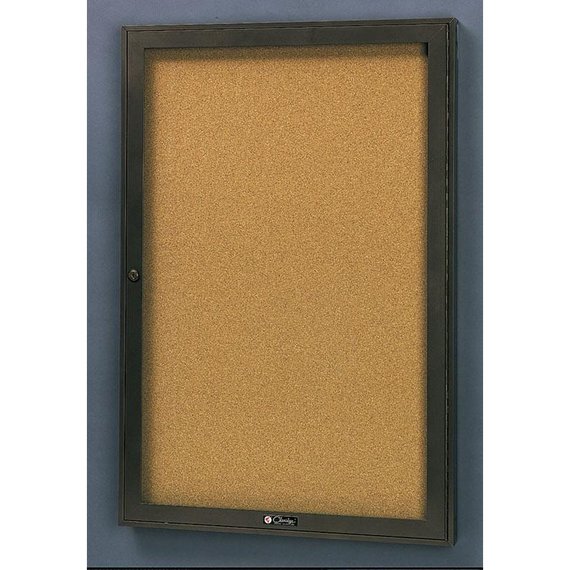 Our Rival Aluminum Frame Bulletin Board Cabinet With Tan Nucork Back Panel    30
