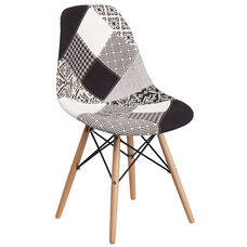 Elon Series Turin Patchwork Fabric Chair with Wood Base