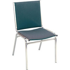 Quick Ship 400 Series Stacking Square Steel Frame Armless Hospitality Chair with Full Back and 1