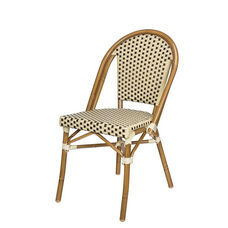 Paris Indoor/Outdoor Stackable Armless Side Chair with Light Bamboo Aluminum Frame - Cream and Chocolate