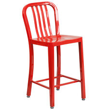 "Commercial Grade 24"" High Red Metal Indoor-Outdoor Counter Height Stool with Vertical Slat Back"