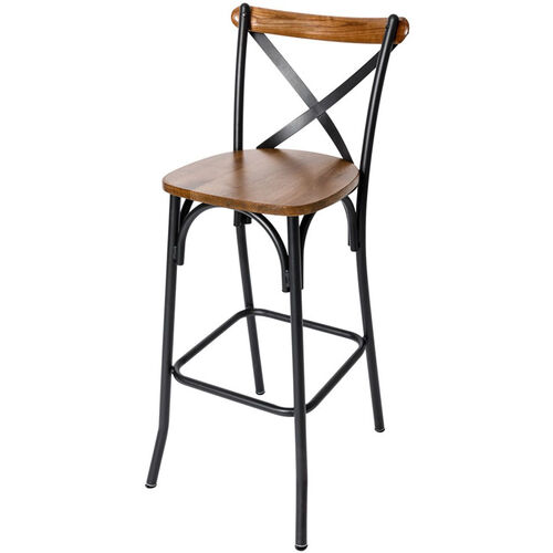Our Henry Black Metal Cross Back Barstool - Autumn Ash Wood Seat is on sale now.