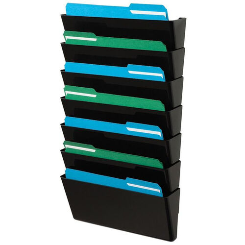 Our Stackable 7 Pocket Wall Mounted Legal Size Letter Holder - Black is on sale now.