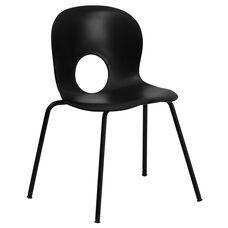 HERCULES Series 770 lb. Capacity Designer Black Plastic Stack Chair with Black Frame