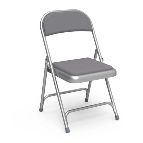 Quick Ship Multi-Purpose Steel Folding Chair with Silver Mist Vinyl Pads and Frame - 17.75